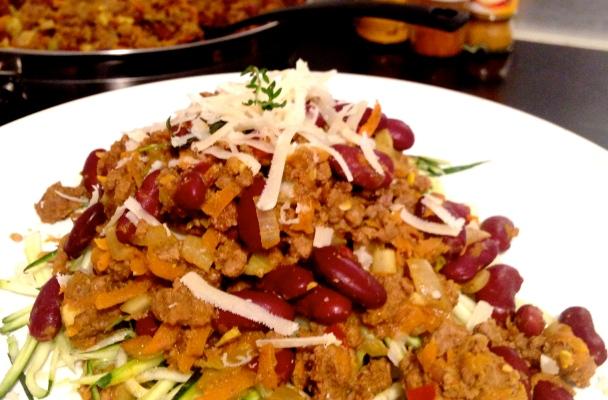 Chili Beef on Zucchini Fettucine
