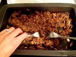 pulling apart pork